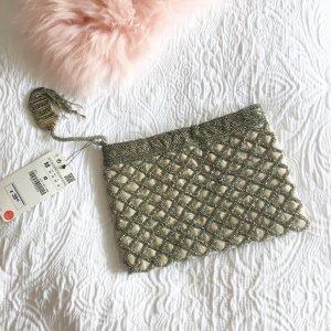 Zara Blogger Clutch Tasche Perlen Glitzer Nude beige Pailletten Party