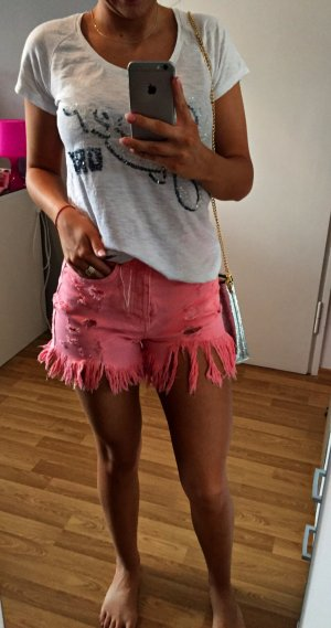 Zara Blogger Denim Shorts Pink NEU