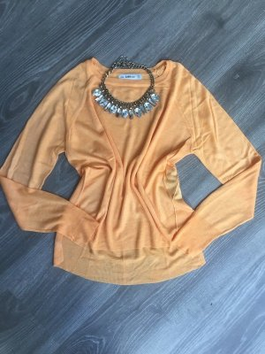 Zara Pull tricoté orange fluo-orange