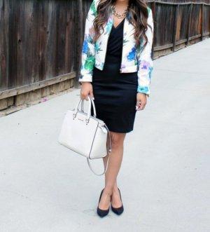 Zara Blogger Jacke Floral Flower Blumen print Blazer Kunstleder oversize Gr S