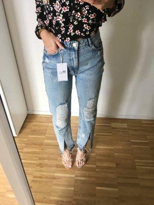 Zara Blogger Jeans 34 XS Hellblau Ripped Destroyed Mom Boyfriend
