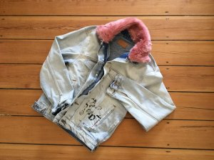 ZARA Blogger Jeansjacke Fell Teddy oversized used destroyed