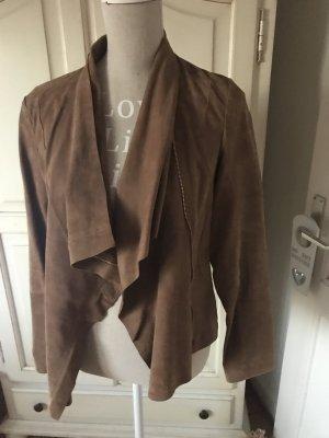 Zara Chaqueta de cuero marrón-coñac