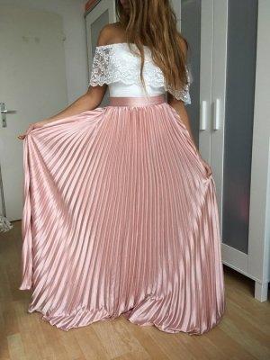 Zara Blogger Maxi Rock wie seide glänzend wunderschön nude rosa XS