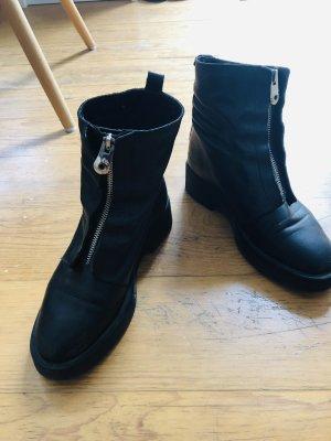 Zara Basic Botas de combate negro-color plata