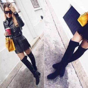 Zara Blogger Wildleder Overknee Stiefel Schwarz Leder 36 nur einmal getragen!