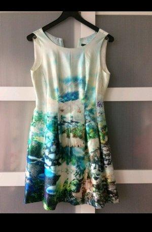 Zara Robe blanc-turquoise