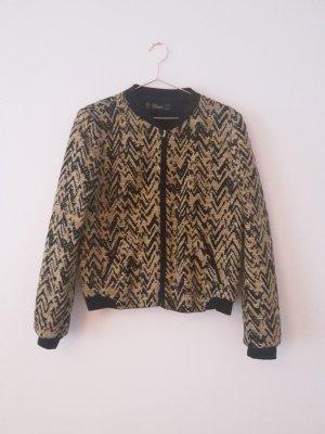 ZARA Blouson/Bomberjacke M/L gewebter Look Jacke schwarz/gelb Muster