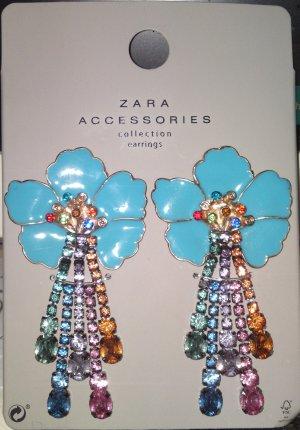 Zara Blüten Ohrringe mit bunten Steine Neu