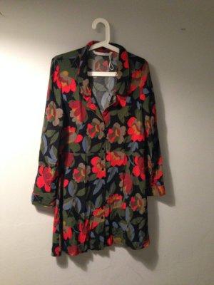ZARA Blumenkleid im Retro Look - kurzes Blusenkleid / Bluse mit 70s Print M L