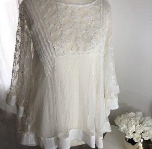 Zara Blouse à volants blanc