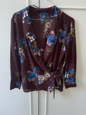 Zara Blusa tipo kimono violeta amarronado-rojo zarzamora