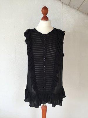 ZARA Bluse 38 L Shirt Kurzarm Rüschen Transparenz schwarz