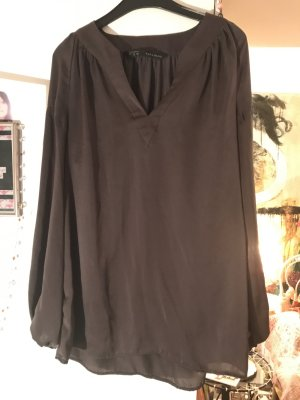Zara Bluse Anthrazit Satin Sophisticated Style XS S