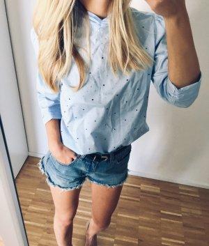 Zara Bluse blau mit Strasssteinen