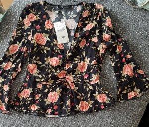 Zara bluse Blouse Blogger mit Volant mit Blumen boohoo