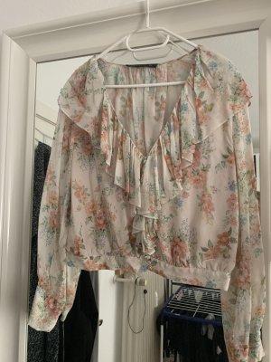 ZARA Bluse Blumen Floral weiß rosa XL 40 42 kurz
