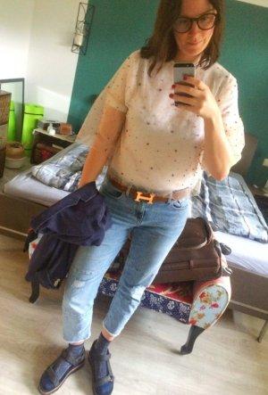 Zara Bluse Blusenshirt Tüll Netz Nude Volants