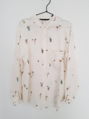ZARA Bluse Cocktails 70s XL weiss allover Print