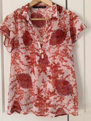 Zara Blusa transparente blanco-rojo frambuesa