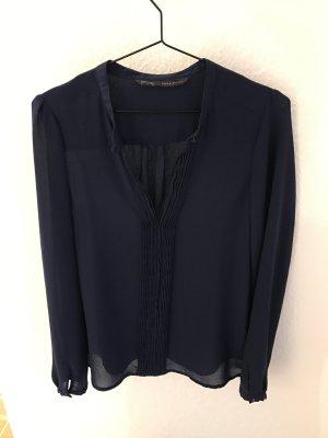Zara Bluse dunkelblau mit tollen Details