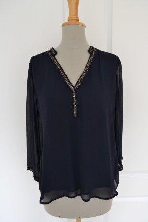 Zara Bluse dunkelblau Pailletten Größe M S Viskose transparent