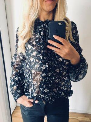 Zara Bluse Floral boho mit Schleife S 36 Schwarz Muster