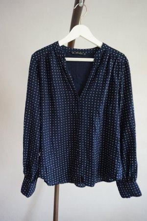 Zara Bluse gepunktet blau/weiß Fledermausärmel M V-Ausschnitt