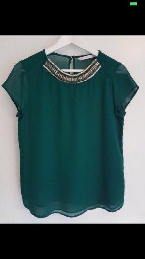 Zara Blusa de manga corta verde bosque