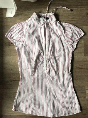 Zara Blouse à manches courtes rose-blanc coton