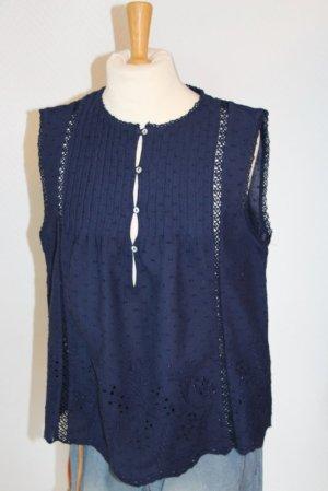 Zara Blusa sin mangas azul oscuro Algodón