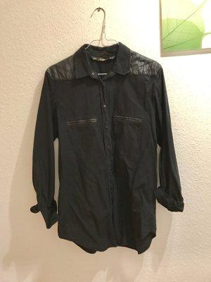ZARA Bluse Hemd schwarz S 36 Lederimitat