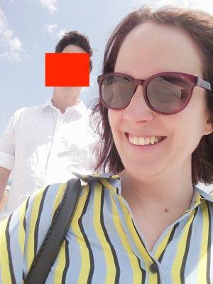 Zara Bluse Hemd Streifen Neon Pastell L
