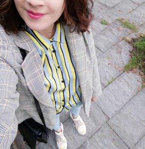Zara Bluse Hemd Streifen Neon Pastell Limette