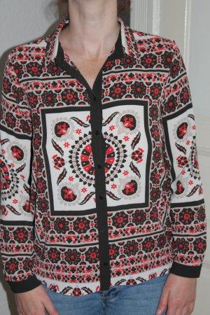 Zara Blouse-chemisier noir-rouge carmin