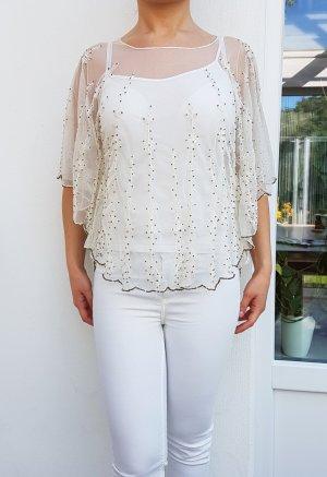 ZARA Bluse hochwertiges Top detailreiche Bluse mit Stickerei Mesh Perlen Tüll