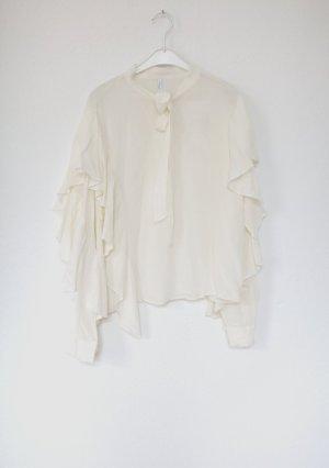 Zara Bluse in creme mit Volants und Rüschen Gr. XL Oversized Nude