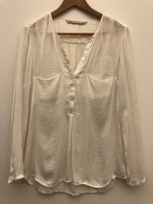 ZARA Bluse in Creme-weiß