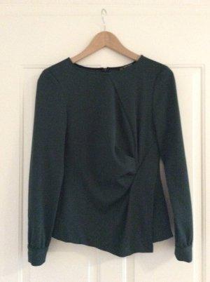 Zara Basic Slip-over blouse donkergroen Polyester