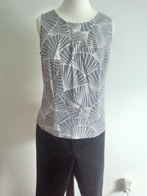 Zara Blouse sans manche gris clair-blanc coton