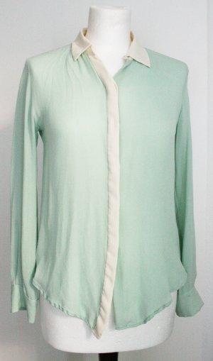 Zara Blouse à manches longues vert menthe-crème soie