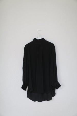 Zara Bluse in schwarz Vintage Look Viktorianisch Gr. M Perlen Satin