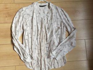 ZARA Bluse in weißem mit süßem Brillendruck Viskose/Seide Gr. S