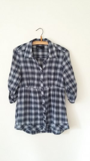 Zara Blouse à carreaux bleu-blanc coton