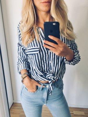 Zara Flanellen hemd wit-donkerblauw