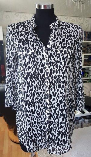 Zara Bluse Lange Hemdbluse Leo Look schwarz-weiß S