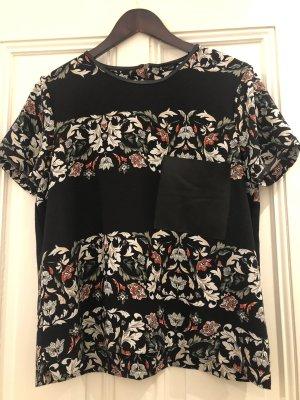 Zara Bluse mit Blumendruck und PU Details