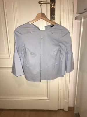 Zara Blusa de manga corta azul claro-azul bebé