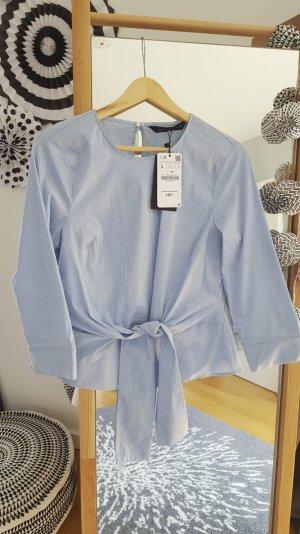 Zara Blouse-chemisier bleu azur-blanc coton
