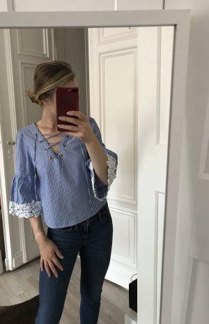 Zara Tunique-blouse blanc-bleu